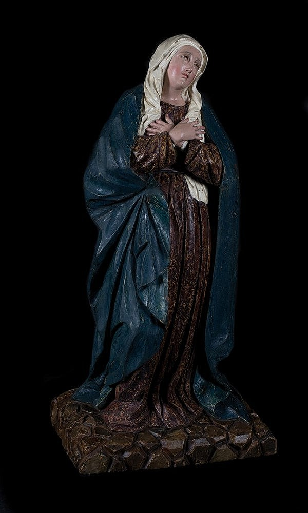 Our Lady of Sorrows.  Carved polychrome wooden sculpture. 17th century.