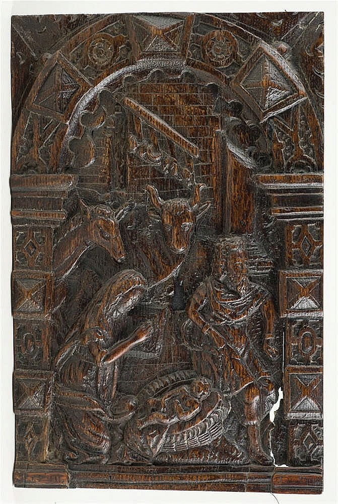 The nativity carved wooden relief th century