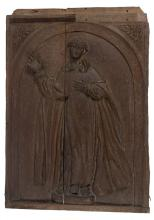 Carved wooden relief.  Spanish School. 17th century.