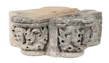 Sculpted stone architectural fragment - two enjoined capitals.  Renaissance.  16th century.