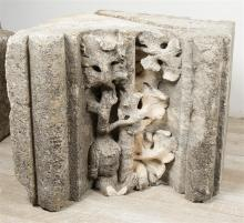 Three large fragments of sculpted stone. Renaissance. 16th century.