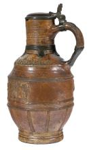 Ceramic and tin tankard. Raeren. Germany. Dated 1595.