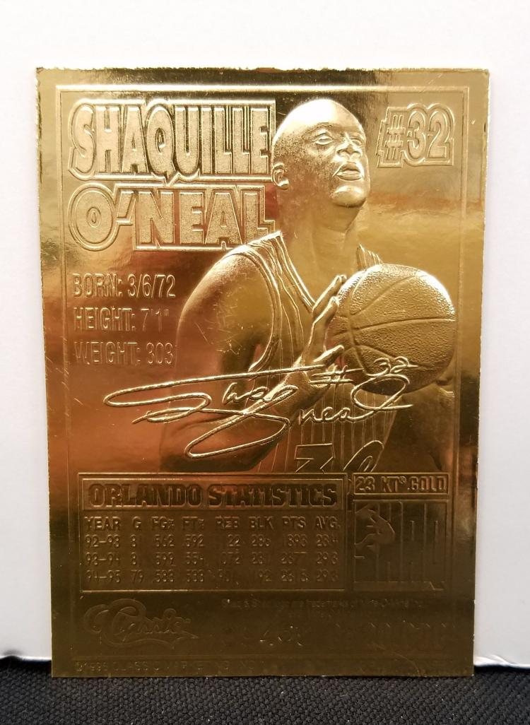 15x 1992 classic 22kt gold shaquille o 39 neal basketball rooki for Classic house 1992