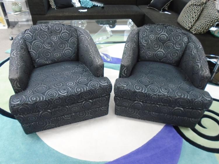 Pair Of Directional Chairs Black And Silver Swirl Design