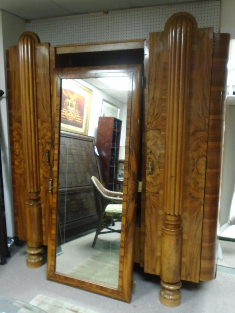 Wooden Armoire With Mirror Amp Shelves
