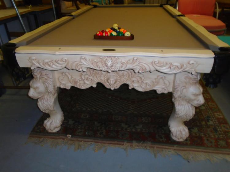 Custom olhousen pool table with lion motif regulation size for 13 american table boca raton