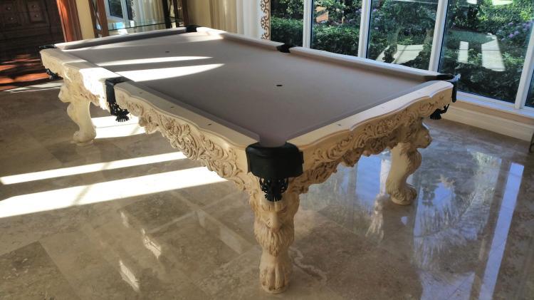 Custom olhousen pool table with lion motif regulation size for 13 american table boca raton fl