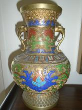 DOUBLE HANDLED BRASS URN WITH ENAMEL DESIGN