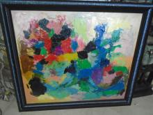 FRAMED ABSTRACT OIL PAINTING BY MARILYN CALIFF