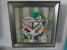 FRAMED 'A DRINK TO A ROSE' OIL PAINTING BY FANNIE HILLSMITH
