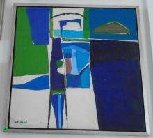FRAMED ABSTRACT OIL PAINTING BY WELAND