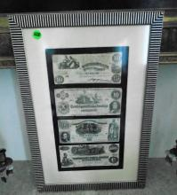 FRAMED AUTHENTIC CURRENCY 1800'S