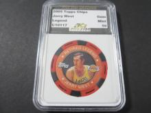 2005-06 Topps Chips JERRY WEST LA Lakers Basketball Legend Poker Chip Graded Gem Mint 10