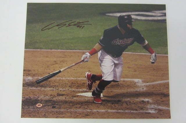 Carlos Santana Cleveland Indians signed autographed 16x20 color photo Certified COA