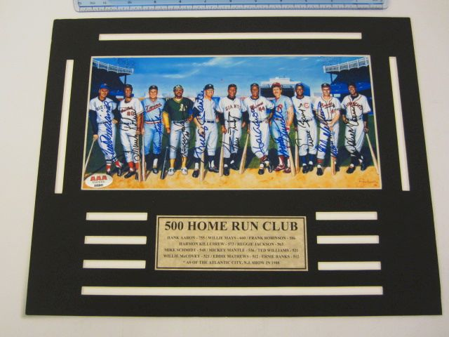 11 MEMBERS OF 500 HOME RUN CLUB Signed Autographed Framed & Matted Photo Certified CoA