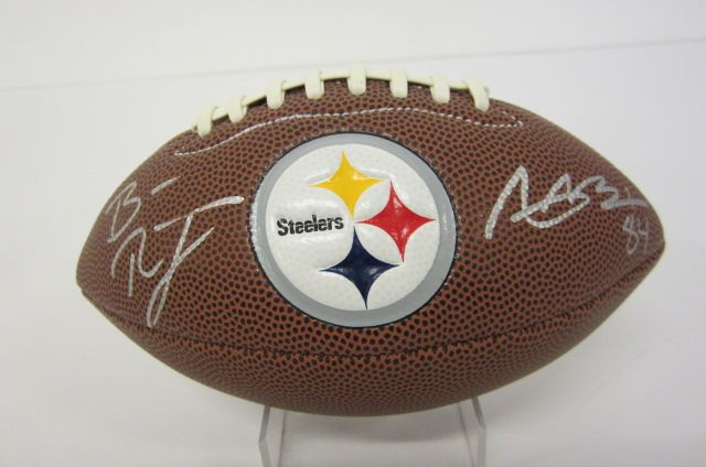 ANTONIO BROWN & BEN ROETHLISBERGER Signed Autographed Pittsburgh Steelers Mini Football Certified CoA