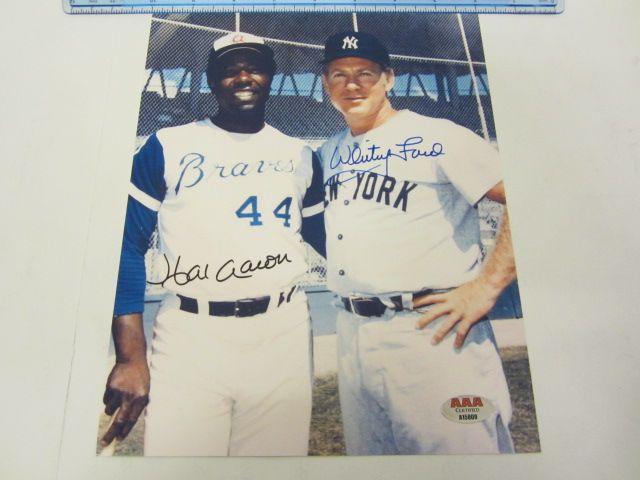 HANK AARON & WHITEY FORD Atlanta Braves NY Yankees Signed Autographed 8x10 Photo Certified CoA