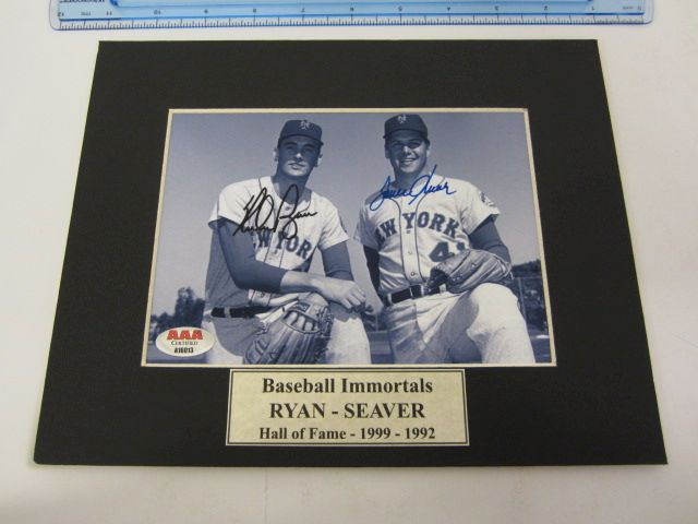 NOLAN RYAN & TOM SEAVER NY Yankees Signed Autographed Matted Photo Certified CoA