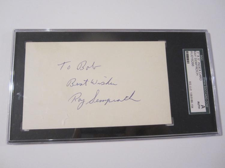 Ray Semproch Philadelphia Phillies signed autographed 3x5 index card Certified COA