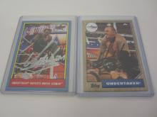 2 x UNDERTAKER Signed Autographed WWE Wrestling Trading Cards Certified CoA
