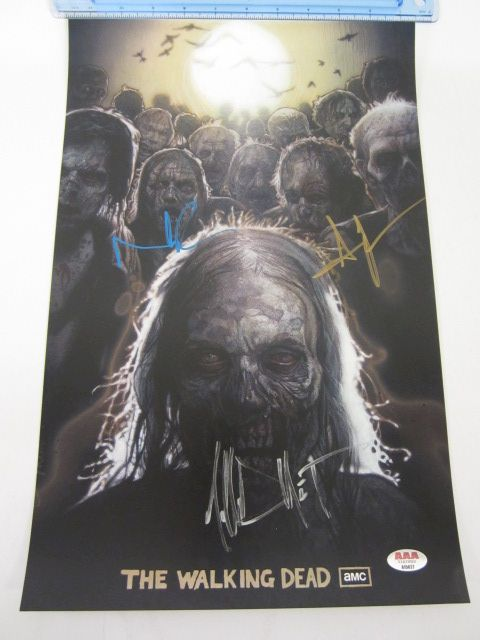 NORMAN REEDUS, ANDREW LINCOLN & JEFFREY DEAN MORGAN Signed Autographed 10x16 Photo Certified CoA