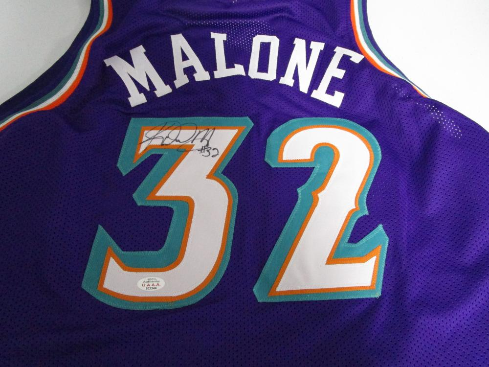 sports shoes 209c5 d96e4 Karl Malone of the Utah Jazz signed purple basketball jersey ...