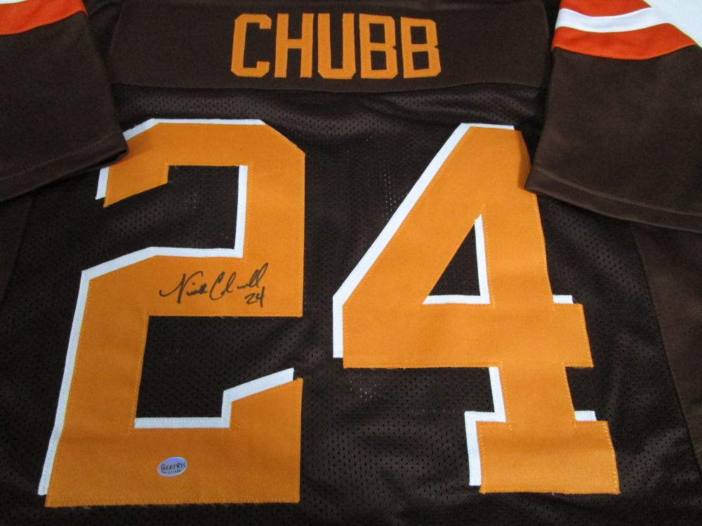 reputable site 10be1 69df5 Nick Chubb of the Cleveland Browns signed Brown football ...