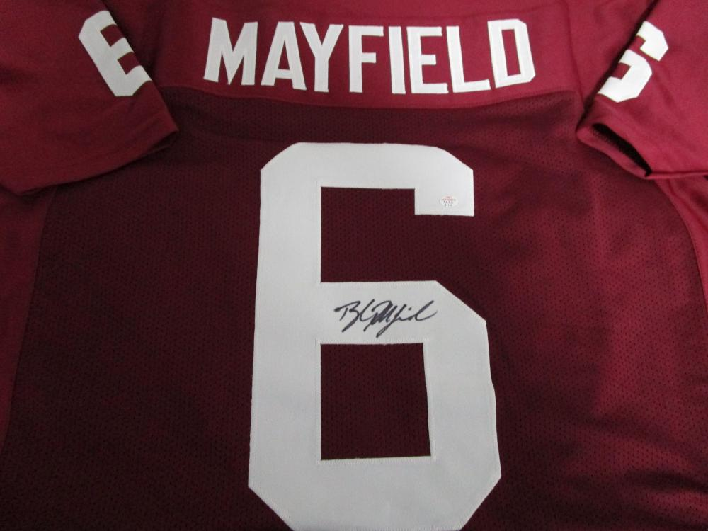info for 846d2 9419c Baker Mayfield of the Oklahoma Sooners signed red football ...
