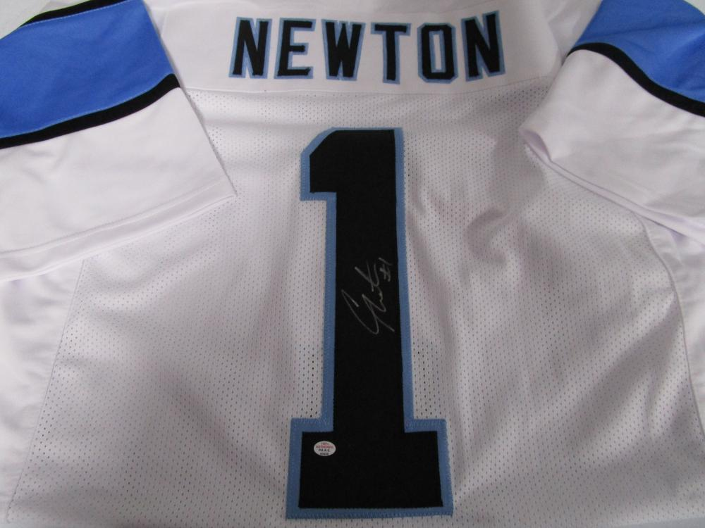 huge selection of b4edd 44d8e Cam Newton of the Carolina Panthers signed white football ...