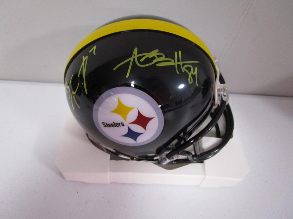the best attitude 7a4f1 fc5c9 Antonio Brown Ben Roethlisberger of the Steelers signed mini ...