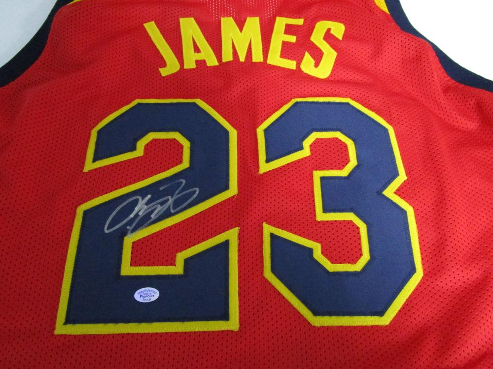 sports shoes 0ef4b d4d64 LeBron James of the Cleveland Cavaliers signed maroon ...