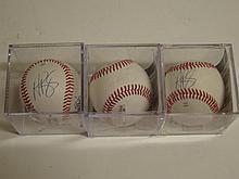 3 Albert Pujols Signed Baseballs