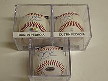 3 Dustin Pedroia Signed Baseballs