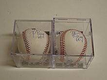 2 Yasiel Puig Signed Baseballs