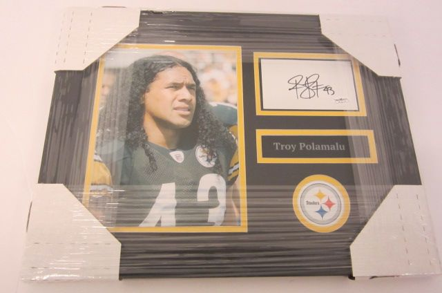 Troy Polamalu Pittsburgh Steelers signed framed Cut Signatur