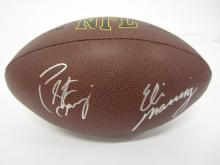 Peyton Manning Eli Manning signed autographed Brown football Certified COA