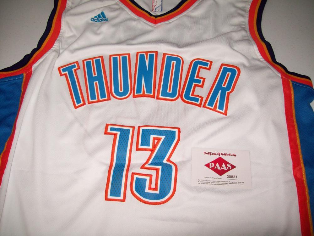 uk availability 66cd8 653c2 Paul George OKC Thunder Signed Autographed basketball jersey ...