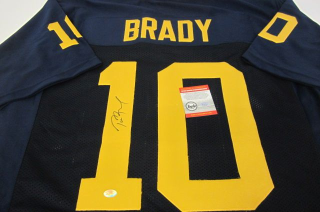 the best attitude a801f cad06 Tom Brady Michigan Wolverines signed autographed football ...