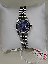 Ladies Rolex, Blue dial with roman numerals