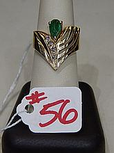 Ladies Ring, Pear shaped emerald and diamond ring