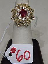 Ladies Ring, Ruby ring with 4 Ct. fancy yellow Baguettes and round diamonds