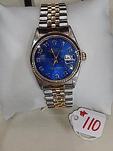 Mens Rolex Watch, Blue dial