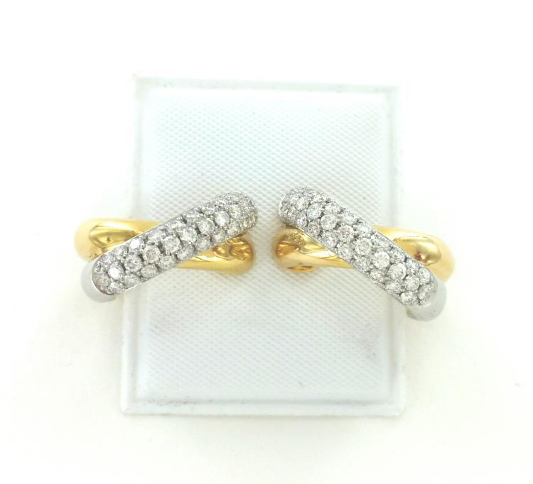 Designer Birks 18k Yellow Gold Cluster Diamond Earrings