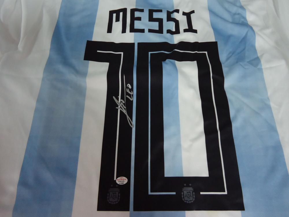 detailed look 879fc f2acd Leo Messi Signed Autographed light blue & white striped ...
