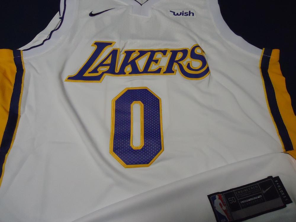 best service eaddb c6871 Kyle Kuzma LA Lakers Signed NBA logo white basketball jersey ...