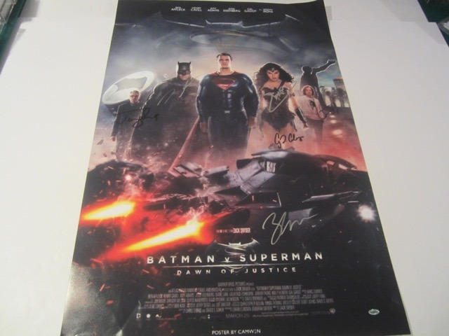 Batman v. Superman Ben Affleck/Henry Cavill/Amy Adams signed and autographed movie poster COA