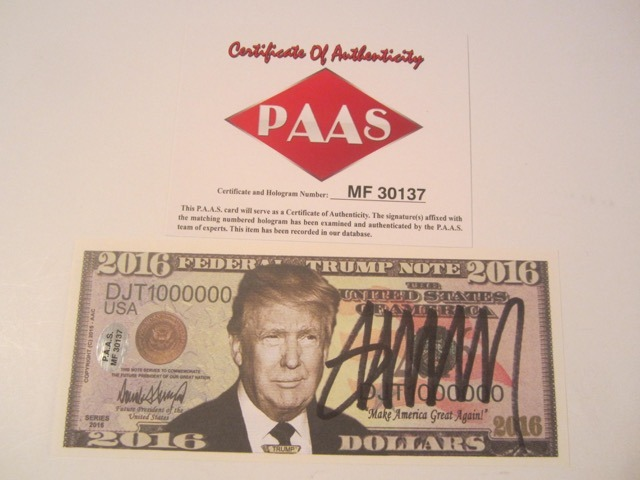 Donald Trump The Next President? Signed Autographed Trump Note