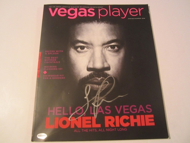 Lionel Richie signed and autographed Las Vegas Player Magazine COA
