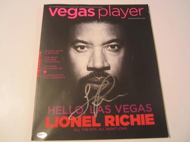 Lionel Richie signed and autographed Las Vegas Player Magazine COA