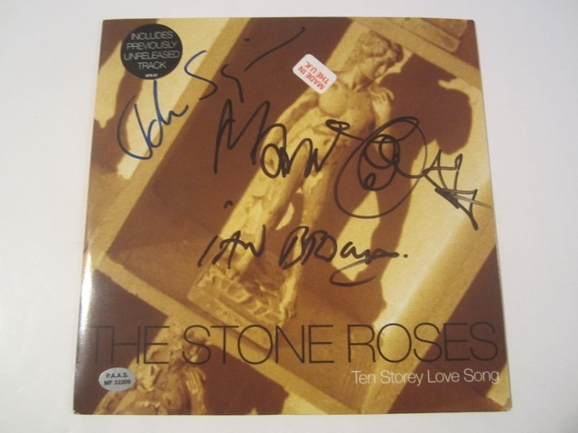 The Stone Roses Ten Storey Love Song Hand Signed Autographed Record Cover COA